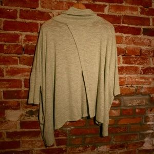 Poof! Open Back Cowl Neck Batwing Waffle-Knit Tee